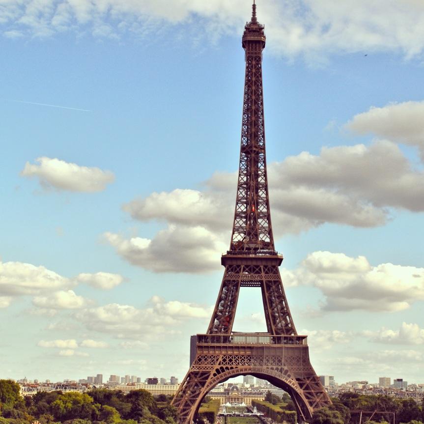 Eiffel Tower with Paris Cityscape Below